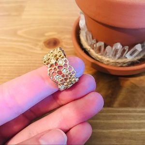 Golden Honeycomb Statement Ring